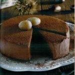 preparazione dolce con cioccolato e castagne